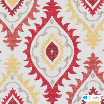 Duralee - Se42564-685 - Red/Clay | Curtain Fabric - Gold, Yellow, Red, Dry Clean, Natural, Ogee, Print, Natural Fibre, Standard Width