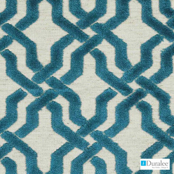 Duralee - Sv15947-57 - Teal    Upholstery Fabric - Fire Retardant, Linen/Linen Look, Turquoise, Teal, Mid Century Modern, Dry Clean, Geometric