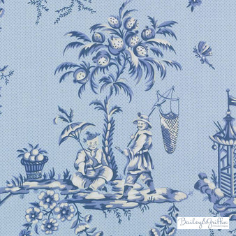 Bailey Griffin - 200016H-197 - Scene Chinoise - Marine   Curtain & Upholstery fabric - Blue, Asian, Dry Clean, Chinoiserie, Chinoise, Natural, Toile