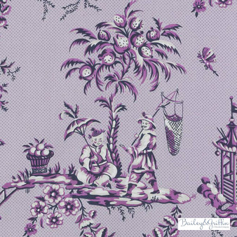 Bailey Griffin - 200016H-204 - Scene Chinoise - Amethyst   Curtain & Upholstery fabric - Pink, Purple, Asian, Dry Clean, Chinoiserie, Chinoise, Toile