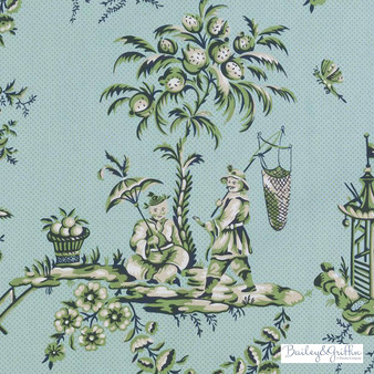 Bailey Griffin - 200016H-246 - Scene Chinoise - Aegean   Curtain & Upholstery fabric - Green, Turquoise, Teal, Asian, Dry Clean, Natural, Toile, Food