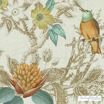 Bailey Griffin - Be42518-684 - Birds Of Eden - Terra/Sage | Curtain & Upholstery fabric - Brown, Green, Turquoise, Teal, Traditional, Dry Clean