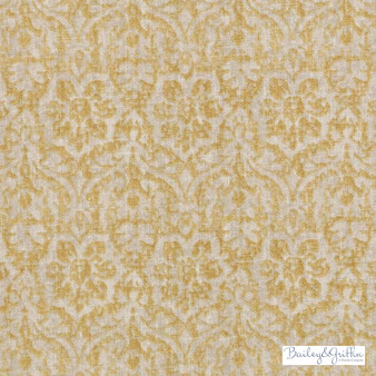 Bailey Griffin - Be42582-551 - Cotswold - Saffron  | Cushion Fabric - Linen/Linen Look, Gold, Yellow, Traditional, Dry Clean, Damask, Natural, Rococo
