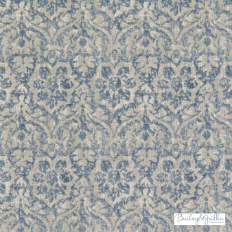 Bailey Griffin - Be42582-619 - Cotswold - Seaglass  | Cushion Fabric - Linen/Linen Look, Blue, Traditional, Dry Clean, Damask, Natural, Rococo, Print