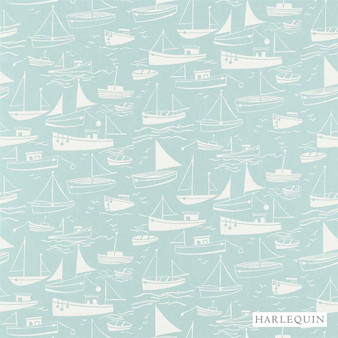 Harlequin Sail Away 120231  | Curtain & Upholstery fabric - Blue, Beach, Harlequin, Kids, Children, Natural Fibre, Washable, Domestic Use, Natural, Print, Standard Width