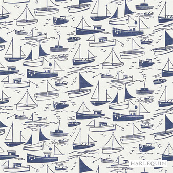 Harlequin Sail Away 120232  | Curtain & Upholstery fabric - Washable, Blue, Beach, Children, Kids, Natural, Nautical, Print, Natural Fibre