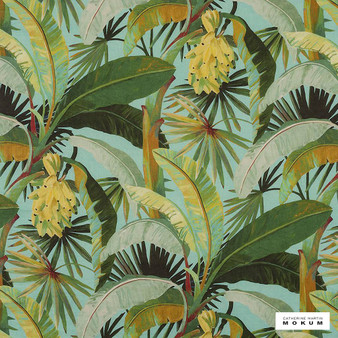 Catherine Martin By Mokum - La Palma - Aqua - 12592-402  | Curtain Fabric - Green, Turquoise, Teal, Floral, Garden, Botantical, Wide-Width, Natural