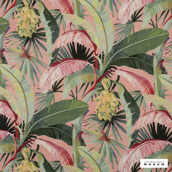 Catherine Martin By Mokum - La Palma - Coral - 12592-121    Curtain Fabric - Pink, Purple, Red, Floral, Garden, Botantical, Wide-Width, Decorative