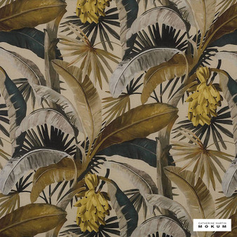 Catherine Martin By Mokum - La Palma - Gilver - 12592-321  | Curtain Fabric - Gold, Yellow, Floral, Garden, Botantical, Wide-Width, Decorative