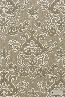 James Dunlop - Notting Hill - Cobblestone - 12549-103  | Curtain Fabric - Brown, Traditional, Damask, Decorative, Natural, Rococo, Natural Fibre