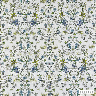 Pegasus - Lily - Stream - 19809-102  | Curtain Fabric - Blue, Green, Floral, Garden, Botantical, Natural, Natural Fibre, Standard Width
