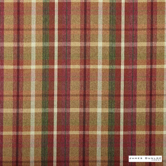 James Dunlop Indent - Sutherland - Rustic - 13279-104 | Curtain & Upholstery fabric - Fire Retardant, Red, Traditional, Check, Plaid, Fibre Blend