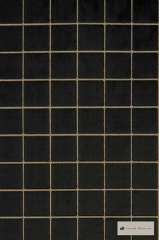James Dunlop - Caxton - Jet - 12402-112  | Upholstery Fabric - Black, Charcoal, Geometric, Check, Pattern, Standard Width