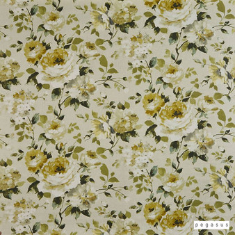 Pegasus - Bloomfield - Eau De Nil - 30302-104  | Curtain Fabric - Gold, Yellow, Floral, Garden, Botantical, Natural, Pattern, Natural Fibre