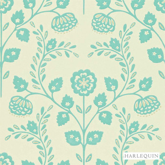 Harlequin Lucerne 110289  | Wallpaper, Wallcovering - Fire Retardant, Blue, Floral, Garden, Botantical, Traditional, Craftsman, Damask, Rococo