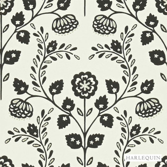 Harlequin Lucerne 110290  | Wallpaper, Wallcovering - Fire Retardant, Black, Charcoal, Floral, Garden, Botantical, Traditional, Craftsman, Damask