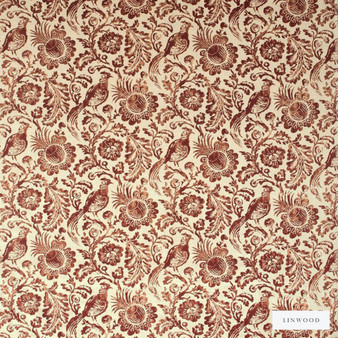 Linwood - Lf1693C_004 Regal Red  | Curtain & Upholstery fabric - Orange, Floral, Garden, Botantical, Velvets, Animals, Fauna, Birds, Pattern, Print
