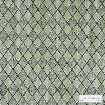 Charles Parsons Interiors - Federation Denim | Curtain Fabric - Green, Diamond, Harlequin, Traditional, Uncoated, Geometric