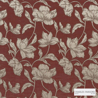 Charles Parsons - Cromwell Red Lantern  | Curtain Fabric - Brown, Floral, Garden, Botantical, Uncoated, Fibre Blend, Standard Width