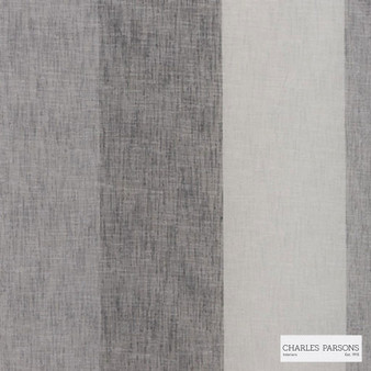 Charles Parsons Interiors - Flaxton Aniseed | Curtain Sheer Fabric - Fire Retardant, Grey, Stripe, Uncoated