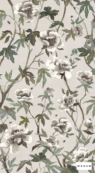 Mokum Peonia A Wallpaper - Parchment  | Wallpaper, Wallcovering - Green, Tan, Taupe, Floral, Garden, Botantical, Decorative, Pattern, Paper Based