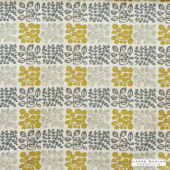 James Dunlop Essentials Refresh - Saffron  | Curtain Fabric - Gold, Yellow, Floral, Garden, Botantical, Check, Natural, Pattern, Print, Natural Fibre