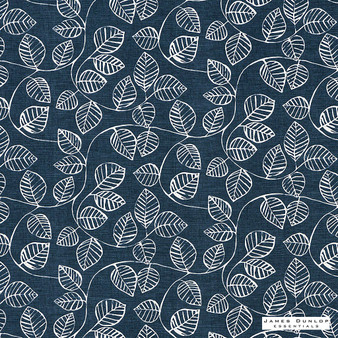 James Dunlop Essentials Vine - Indigo | Curtain Fabric - Blue, Natural, Pattern, Print, Natural Fibre, Standard Width