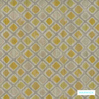Warwick Halliwell - Daffodil  | Upholstery Fabric - Gold, Yellow, Contemporary, Diamond, Harlequin, Mediterranean, Kilim, Geometric, Standard Width