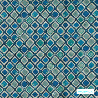 Warwick Halliwell - Pacific  | Upholstery Fabric - Blue, Contemporary, Diamond, Harlequin, Mediterranean, Kilim, Geometric, Australian Made