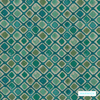 Warwick Halliwell - Teal  | Upholstery Fabric - Green, Contemporary, Diamond, Harlequin, Mediterranean, Kilim, Geometric, Australian Made