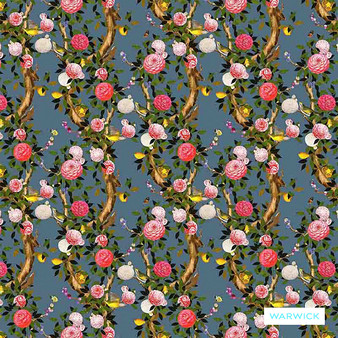 Warwick Magdalena - Bluestone  | Curtain Fabric - Blue, Contemporary, Floral, Garden, Botantical, Bacteria Resistant, Insect Resistant, Standard Width