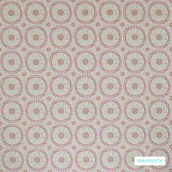 Warwick Omar - Spice  | Upholstery Fabric - Pink, Purple, Red, Mediterranean, Geometric, Bacteria Resistant, Insect Resistant, Stain Repellent