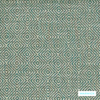 Warwick Abbas - Aquamarine  | Upholstery Fabric - Blue, Diamond, Harlequin, Ikat, Geometric, Bacteria Resistant, Insect Resistant, Stain Repellent