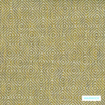 Warwick Abbas - Chartreuse  | Upholstery Fabric - Gold, Yellow, Diamond, Harlequin, Ikat, Geometric, Bacteria Resistant, Insect Resistant, Small Scale