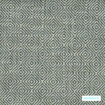 Warwick Abbas - Ink  | Upholstery Fabric - Blue, Diamond, Harlequin, Ikat, Geometric, Bacteria Resistant, Insect Resistant, Stain Repellent