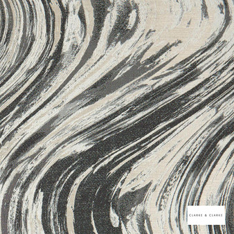 Clarke & Clarke - Agata Charcoalgold  | Curtain & Upholstery fabric - Black, Charcoal, Abstract, Marble, Fibre Blend