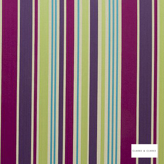 Clarke & Clarke - Alawi Berry  | Curtain & Upholstery fabric - Pink, Purple, Stripe, Embroidery, Fibre Blend