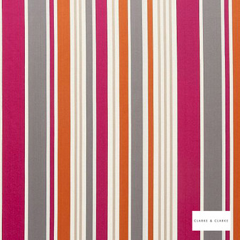 Clarke & Clarke - Alawi Fuchsia  | Curtain & Upholstery fabric - Pink, Purple, Stripe, Embroidery, Fibre Blend