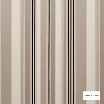 Clarke & Clarke - Alawi Natural  | Curtain & Upholstery fabric - Beige, Stripe, Embroidery, Fibre Blend