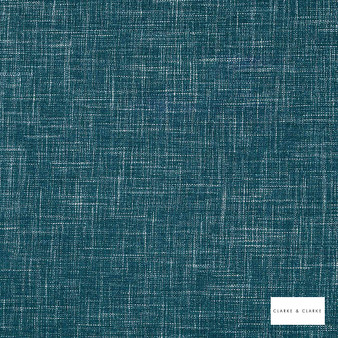 Clarke & Clarke - Albany Peacock  | Curtain & Upholstery fabric - Blue, Plain, Strie, Fibre Blend, Strie