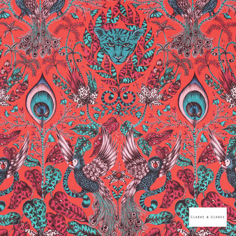 Clarke & Clarke - Amazon Red  | Curtain & Upholstery fabric - Red, Cats, Eclectic, Animals, Fauna, Birds, Natural, Print, Natural Fibre