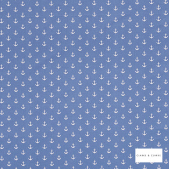 Clarke & Clarke - Anchors Blue  | Curtain Fabric - Blue, Children, Kids, Natural, Nautical, Foulard, Print, Natural Fibre