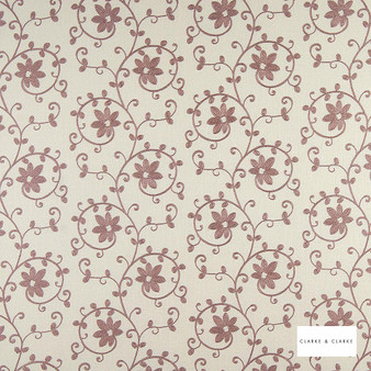 Clarke & Clarke - Ashley Heather  | Curtain Fabric - Pink, Purple, Floral, Garden, Botantical, Embroidery, Scroll, Fibre Blend