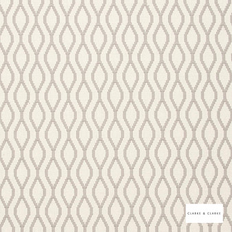 Clarke & Clarke - Brenna Ash  | Curtain Fabric - Beige, Diamond, Harlequin, Geometric, Embroidery, Ogee, Pattern, Fibre Blend