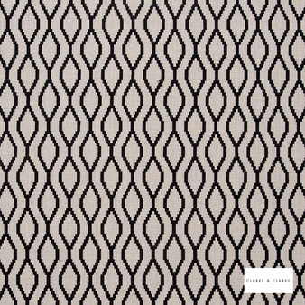 Clarke & Clarke - Brenna Ebony  | Curtain Fabric - Black, Charcoal, Geometric, Embroidery, Ogee, Pattern, Fibre Blend