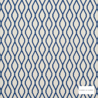 Clarke & Clarke - Brenna Riviera  | Curtain Fabric - Blue, Geometric, Embroidery, Ogee, Pattern, Fibre Blend