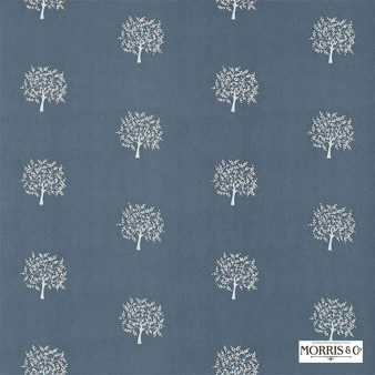 Morris and Co - Woodland Tree 234560  | Curtain Fabric - Blue, Floral, Garden, Botantical, Craftsman, Natural, Foulard, Small Scale, Natural Fibre
