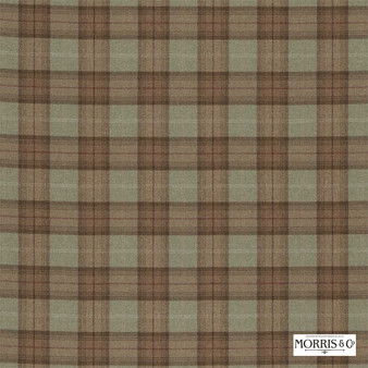 Morris and Co - Woodford Plaid DMORWP302    Curtain & Upholstery fabric - Fire Retardant, Brown, Traditional, Check, Natural, Plaid, Natural Fibre