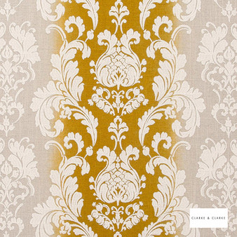 Clarke & Clarke - Camelia Chartreuse    Curtain Fabric - Gold, Yellow, Stripe, Traditional, Eclectic, Embroidery, Damask, Print, Fibre Blend