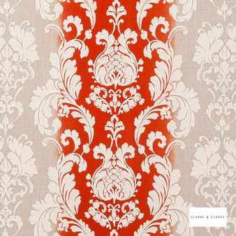 Clarke & Clarke - Camelia Flamingo    Curtain Fabric - Red, Stripe, Traditional, Eclectic, Embroidery, Damask, Print, Fibre Blend